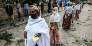 Voters line up to vote in Tigray
