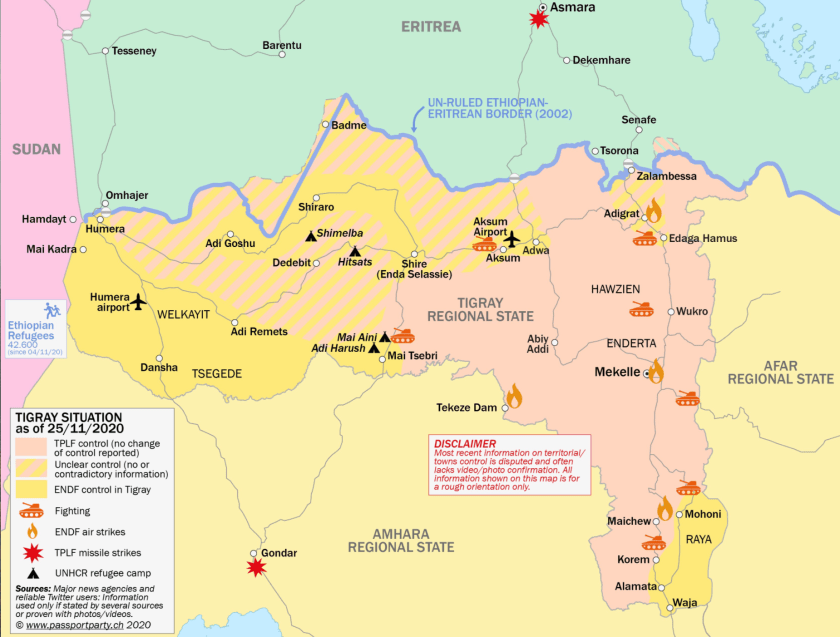 Tigray war map 25 Nov 2020