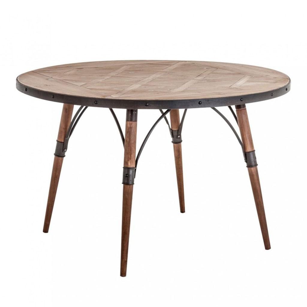 Mesa comedor redonda 120x120cm hierro y madera  Erizho