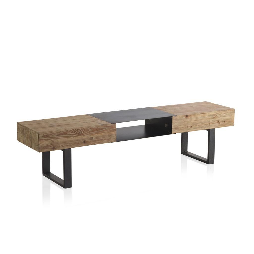 Mueble TV estilo industrial 180x40x45h en madera de abeto