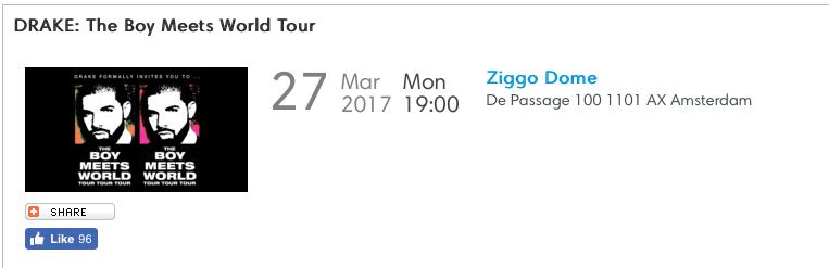 Fecha del concierto de Drake en Amsterdam