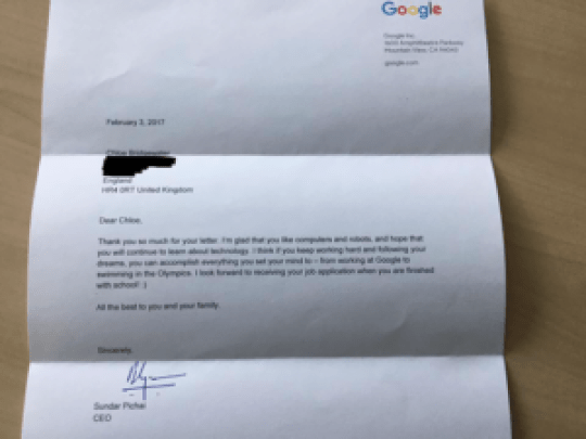 Esta es fue la respuesta de Sundar Pichai, CEO de Google