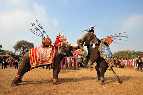 Elefantes celebrando su día en Tailandia