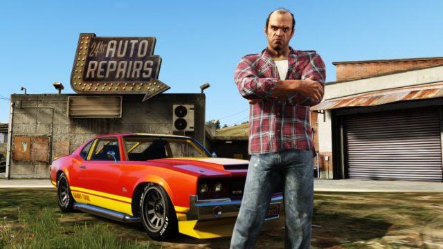 Trevor con un auto personalizado en Grand Theft Auto V