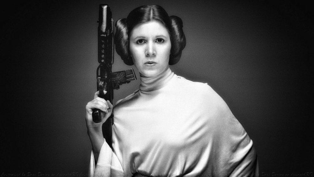 Carrie Fisher joven como la Princesa Leia Organa