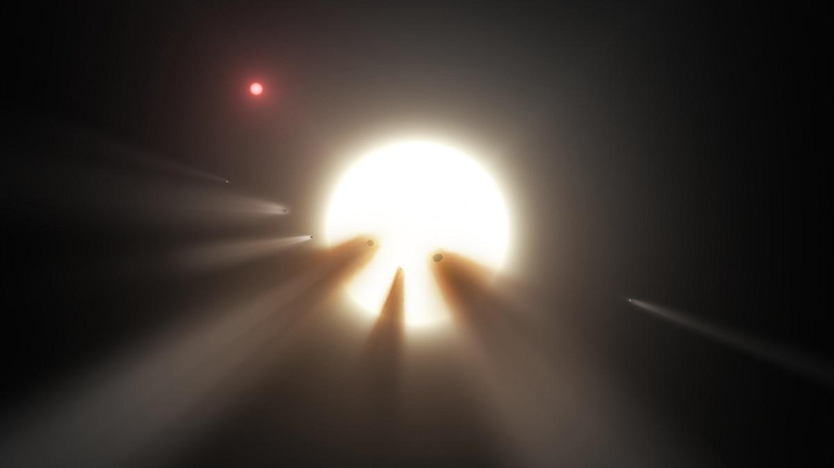 Una hipótesis de los cambios de luminosidad Kic 8462852, la Estrella de Tabby, es que la rodea un cómulo de cometas desintegrándose