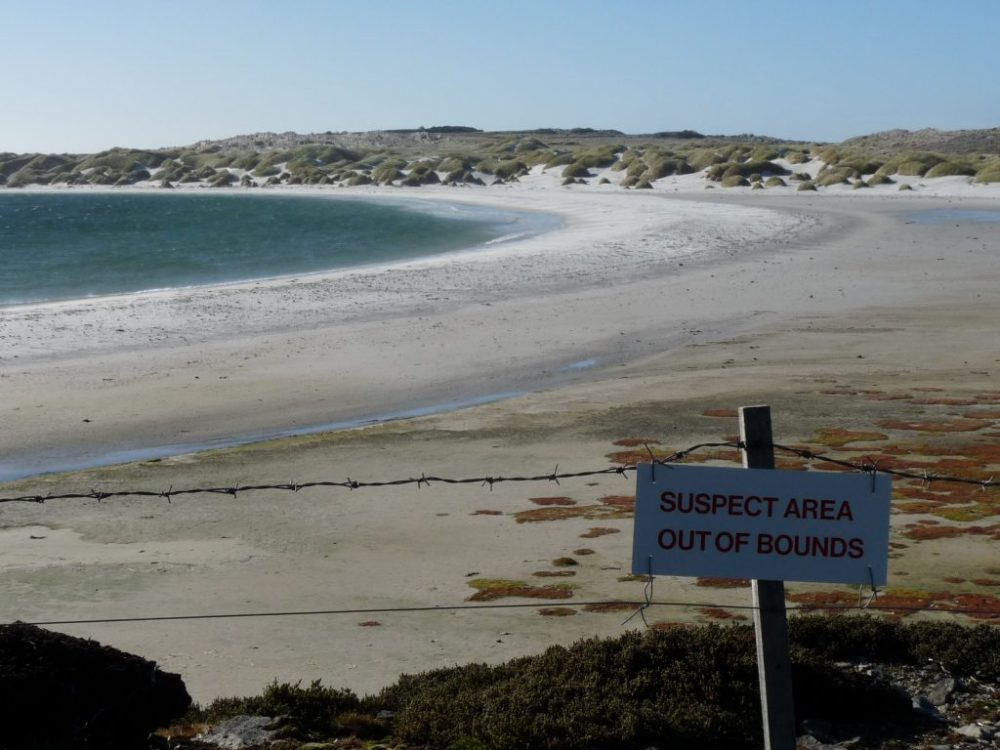 La Bahía de Yorke en las Malvinas están repletas de minas