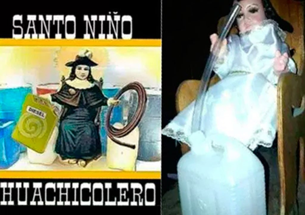 El Santo Niño Huachicolero es una variación del Santo Niño de Atocha