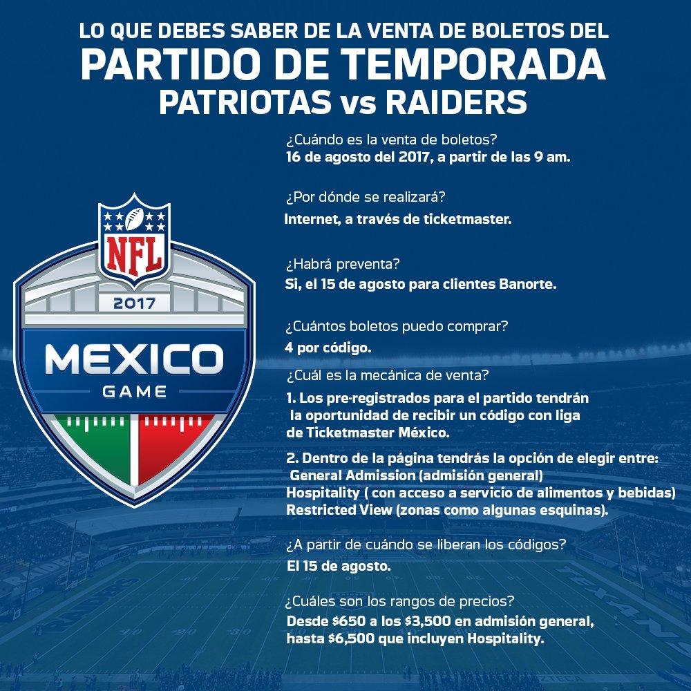 Raiders de Oakland, 19 de Noviembre, Estadio Azteca, Patriotas, Boletos, NFL