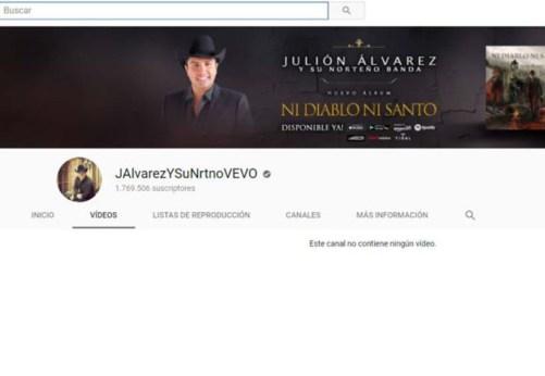 Borran a Julión Alvarez de Youtube