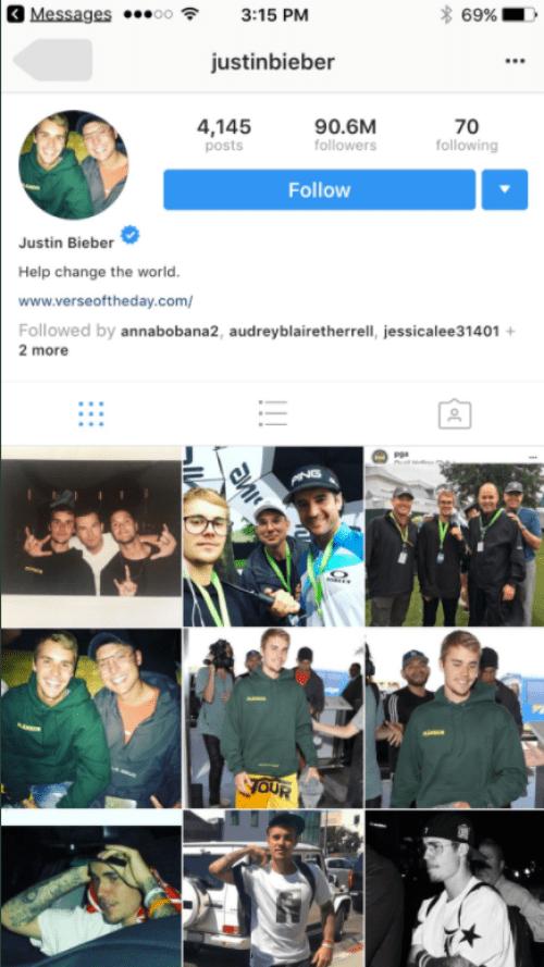 Cuenta real de Instagram de Justin Bieber