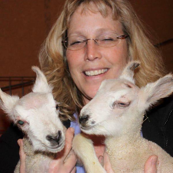 Karen Szewc con dos ovejitas bebé