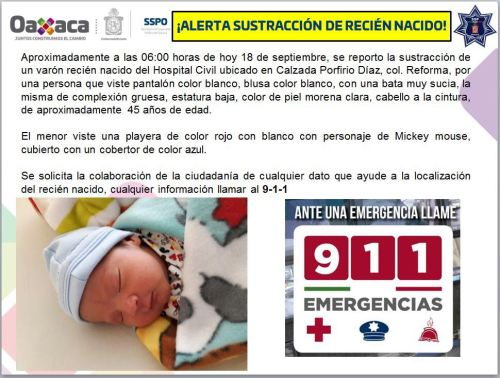 Hospital, Oaxaca, Bebé, Robó, Enfermera, Secuestro