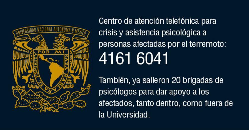 La UNAM otorga apoyo psicológico