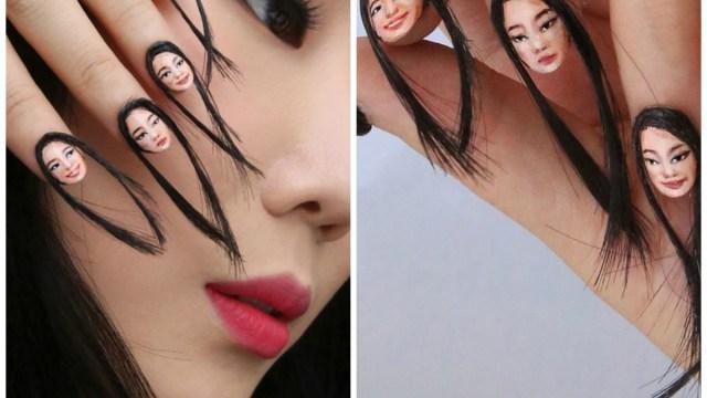 Uñas con cara y pelo de la artista visual Dain Yoon