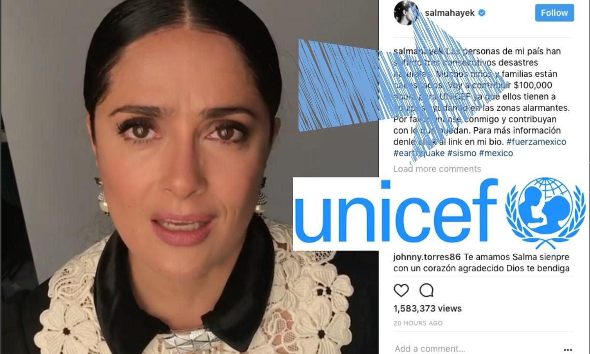 Salma Hayek, Sismo, CDMX, Donación, Donar, UNICEF