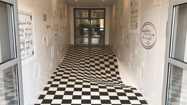 ilusión óptica, piso ilusión, casa ceramica, azulejos