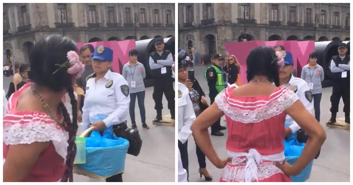 Lady Tacos de Canasta discutiendo con una policía