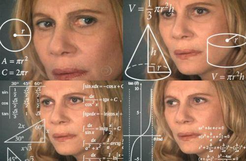 Meme de la mujer haciendo cálculos matemáticos