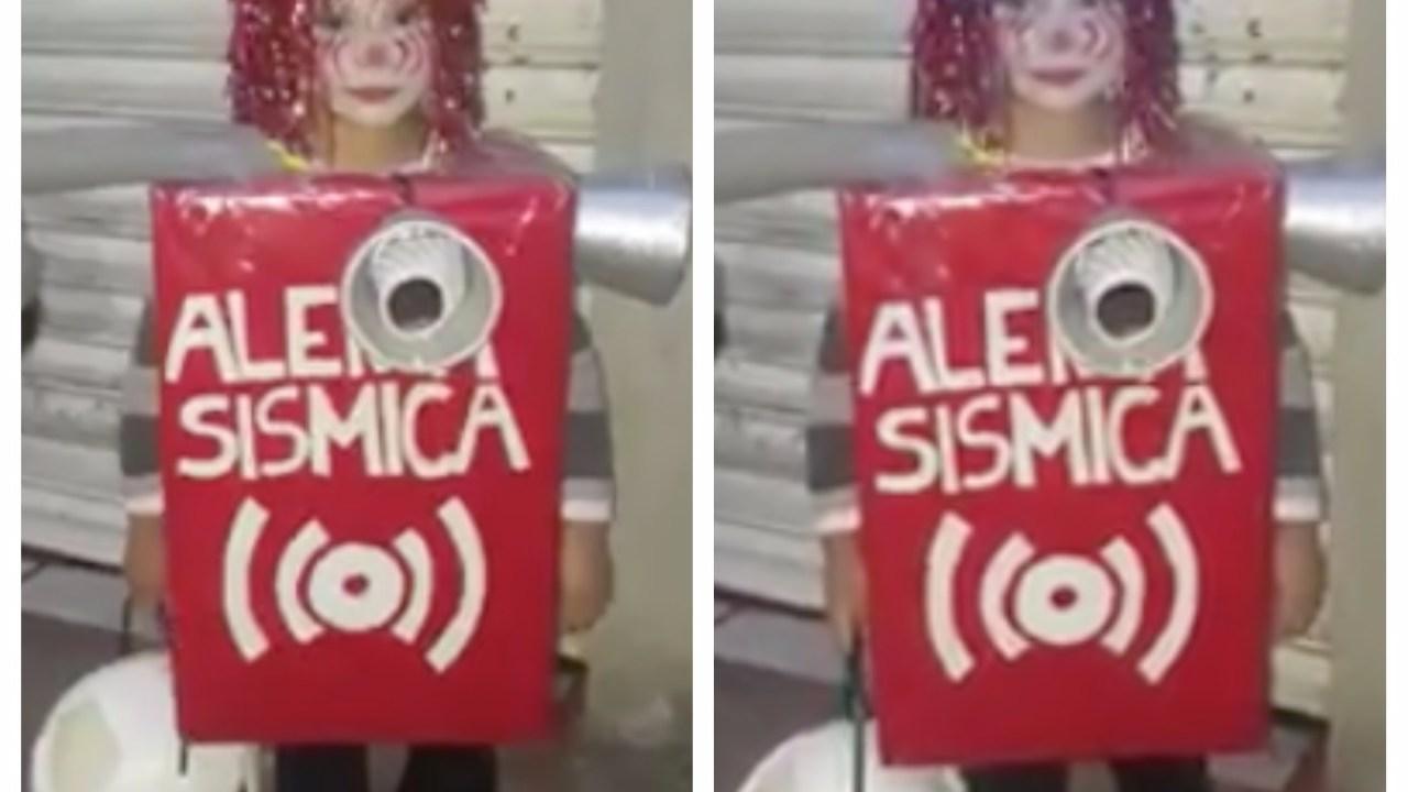 Niño causa polémica por disfraz de alerta sísmica