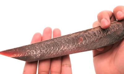Cuchillo hecho con katsuobuchi, atún seco, fermentado y ahumado