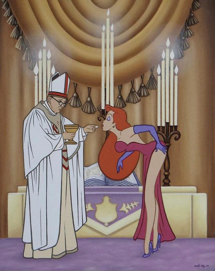 Ilustrador dibujó a los personajes de Disney modernos y decadentes
