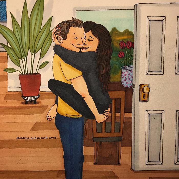 Ilustraciones-dibujos-relaciones-largas-parejas-reconoceran-tiernos-abrazo-llegando