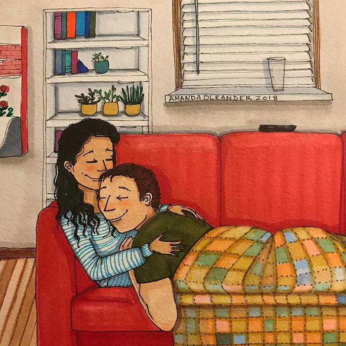 Ilustraciones-dibujos-relaciones-largas-parejas-reconoceran-tiernos-abrazo-siesta
