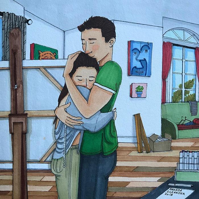 Ilustraciones-dibujos-relaciones-largas-parejas-reconoceran-tiernos-abrazo