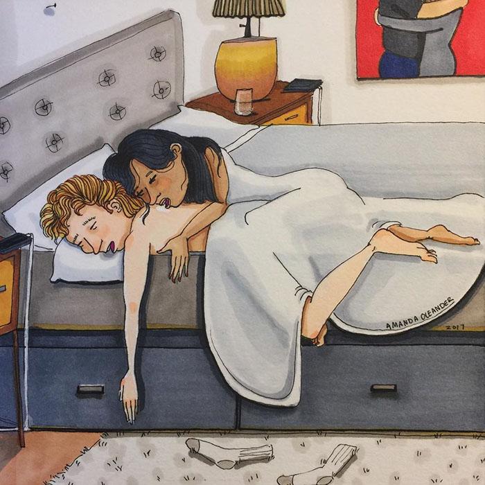 Ilustraciones-dibujos-relaciones-largas-parejas-reconoceran-tiernos-dormir-babear
