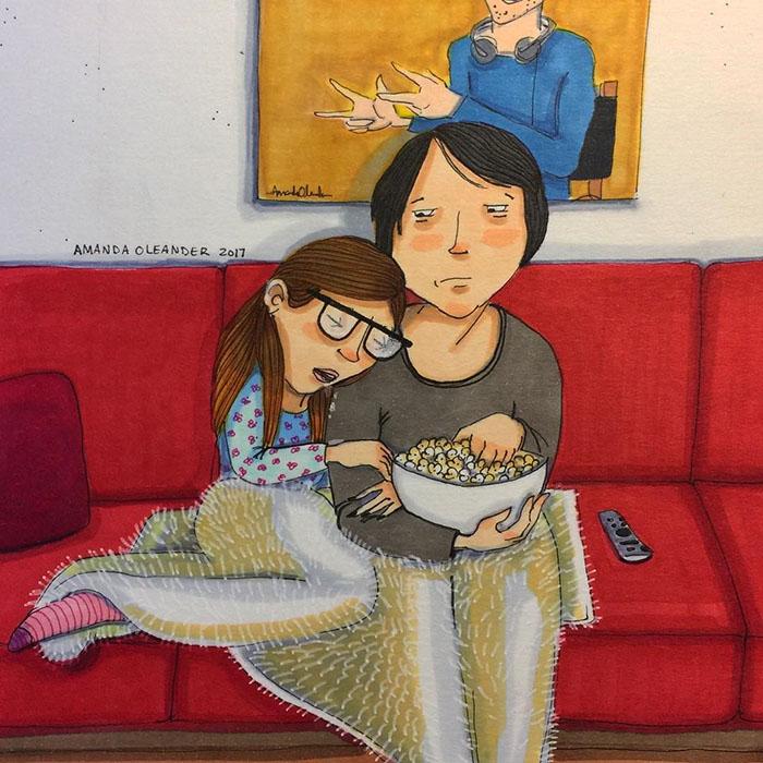 Ilustraciones-dibujos-relaciones-largas-parejas-reconoceran-tiernos-dormir-viendo-pelicula