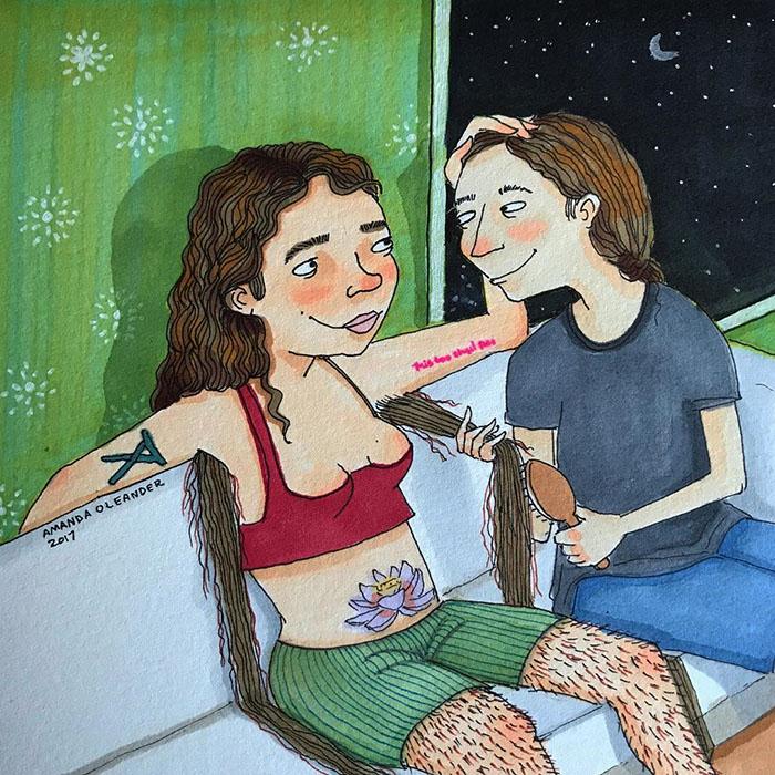 Ilustraciones-dibujos-relaciones-largas-parejas-reconoceran-tiernos-peinar-pelo