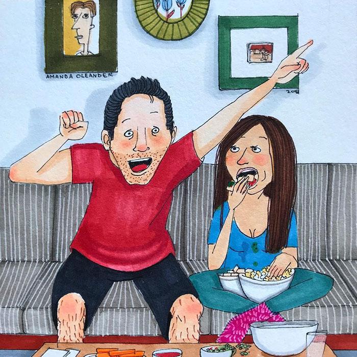 Ilustraciones-dibujos-relaciones-largas-parejas-reconoceran-tiernos-ver-futbol
