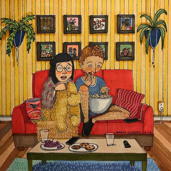 Ilustraciones-dibujos-relaciones-largas-parejas-reconoceran-tiernos-ver-peliculas-sillón