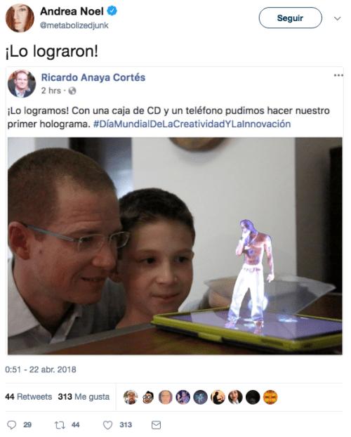 Ricardo anaya y su hijo hicieron un holograma