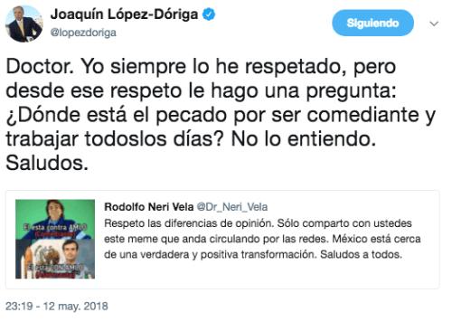Neri Vela comparte meme Eugenio Derbez