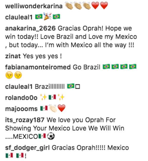 Oprah Winfrey Muestra Su apoyo a la selección mexicana