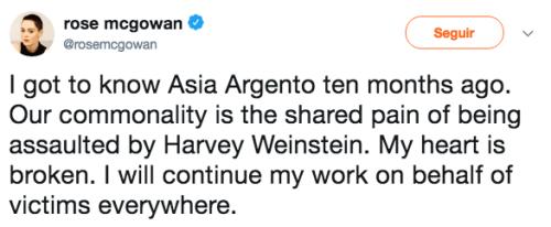 Reaccion Rose McGowan caso Asia Argento
