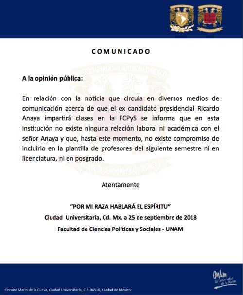 RICARDO ANAYA NO DARÁ CLASES EN LA UNAM