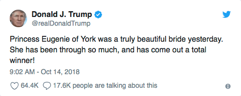 Trump felicitó a princesa Eugenia por boda... pero mal