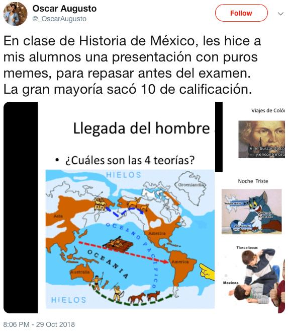 Este genio dio una clase de historia con puros memes