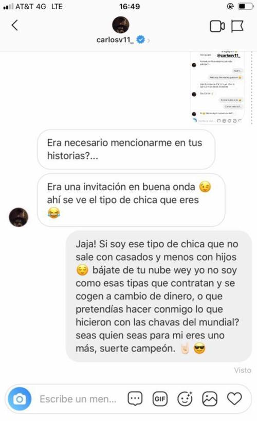 Carlos Vela evidenciado por modelo trans en Instagram