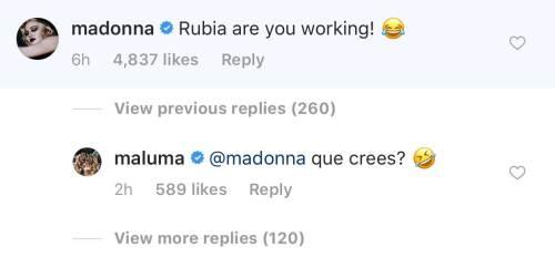 Madonna le deja divertido comentario a Maluma en Instagram