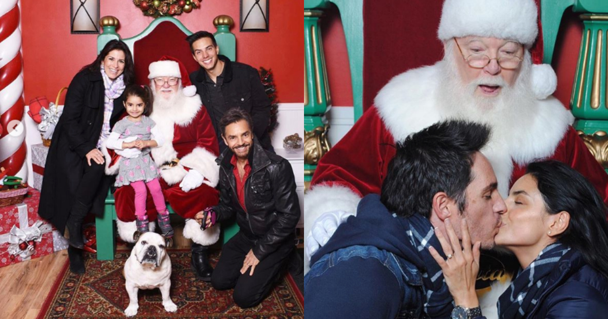 Navidad Familia Derbez, Eugenio Derbez Familia, Foto Navideña Photoshop, Eugenio Derbez, Aislinn Derbez, Jose Eduardo Derbez