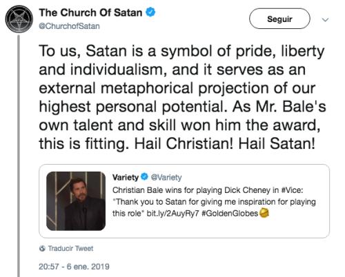 Christian Bale dedica Globo de Oro a Satanás