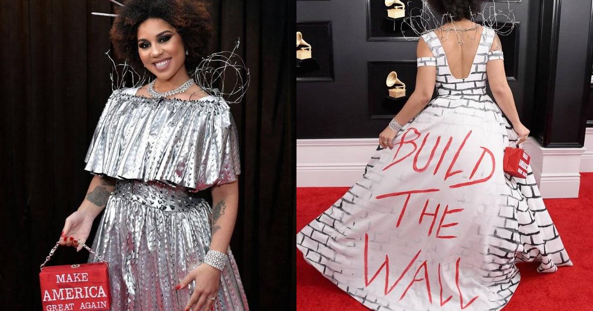 El polémico vestido pro muro de Trump en los Grammy