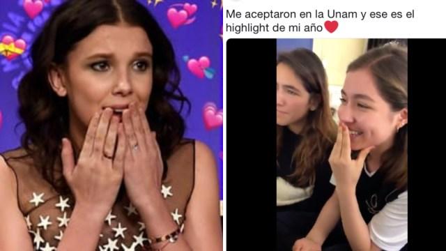 Reacción alumna que aceptaron en la UNAM