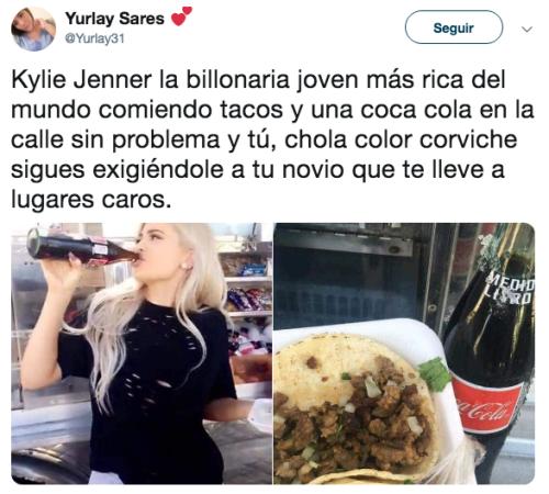 Kylie Jenner aparece comiendo tacos en la calle