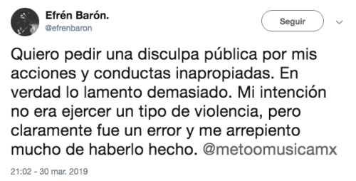 División Minúscula despide a guitarrista Efrén Barón por acusaciones de acoso