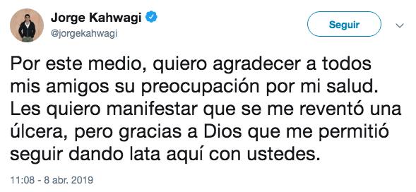 Reportan a Jorge Kahwagi en estado grave de salud